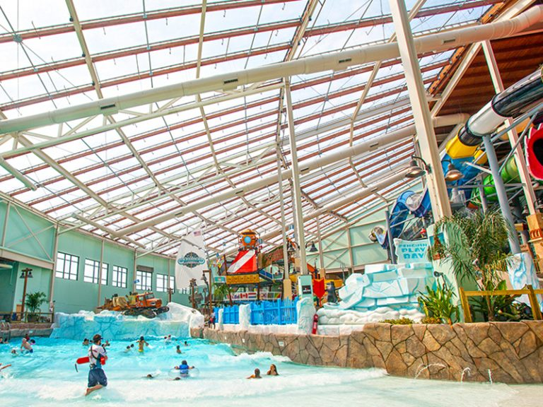 ADG indoor waterpark with texlon transparent roofing systems