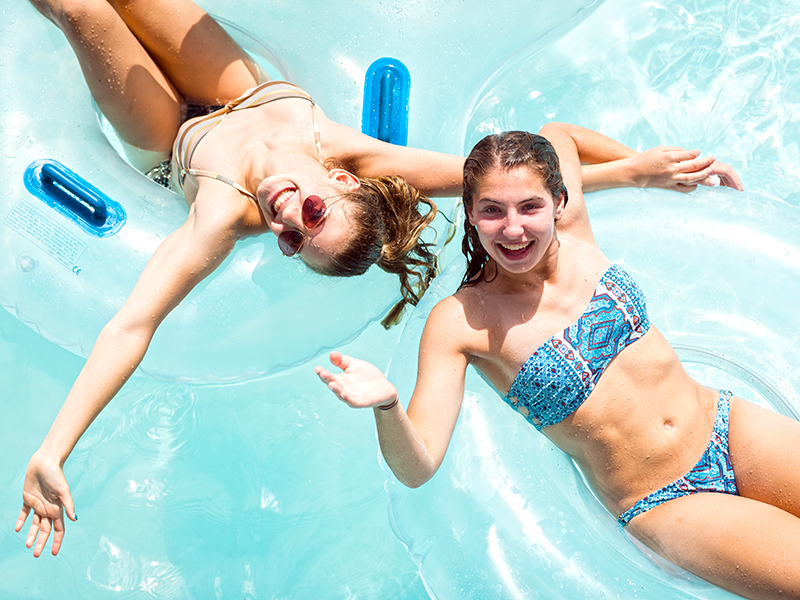 Girls in the Lazy River.