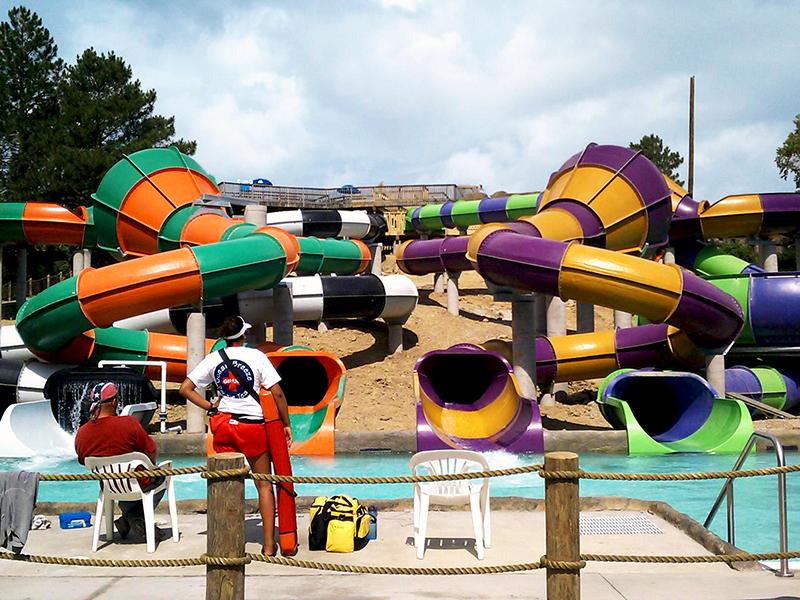 Slides in Ocean Breeze Waterpark