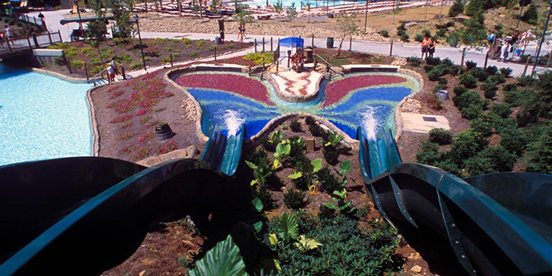 Slides Leading to a Butterfly Pool Landing at Dollywood's Splash Country