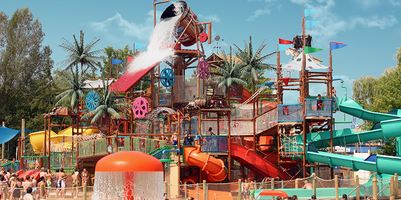 Wildwater Kingdom's Multi-Level Play Structure with Tipping Bucket