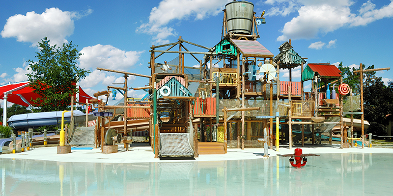 The Multi-Level Play Structure and Children's Water Play Area