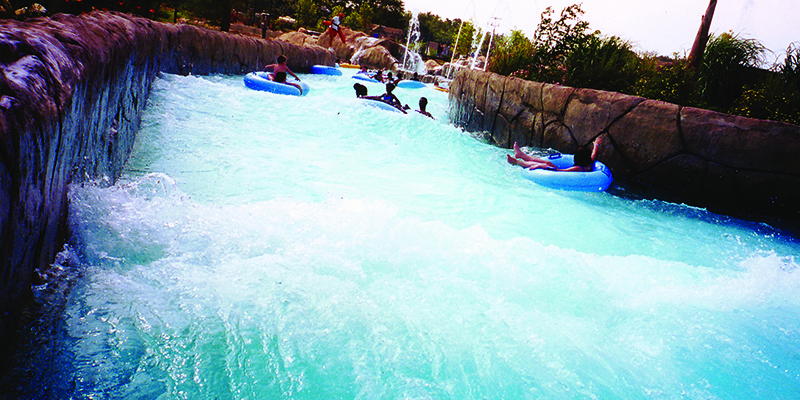 Guests Floating Along the Adventure River with Gushing Waves