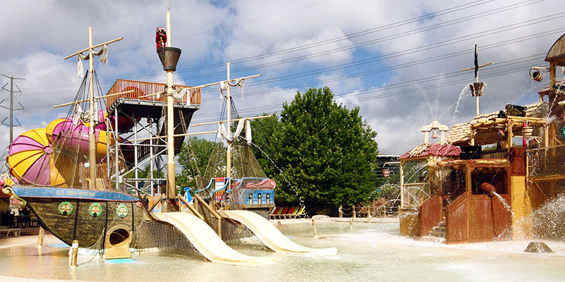 Pirate Ship with Slides in the Interactive Kids Water Play Area
