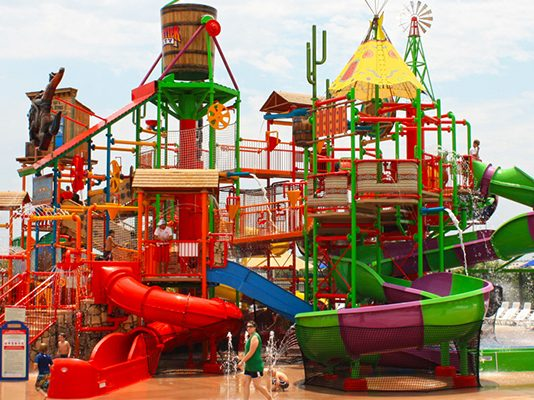 Wild West Water Works Multi-Level Play Structure at Frontier City