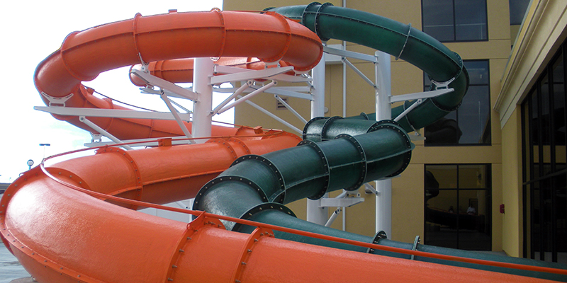 Water Slides Exit and Re-Enter the Building