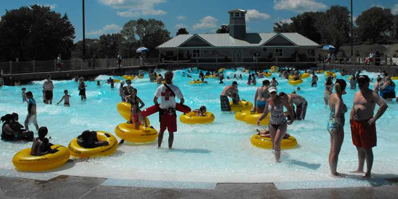 Guests with Yellow Tubes at the Entry of the Wave Pool.