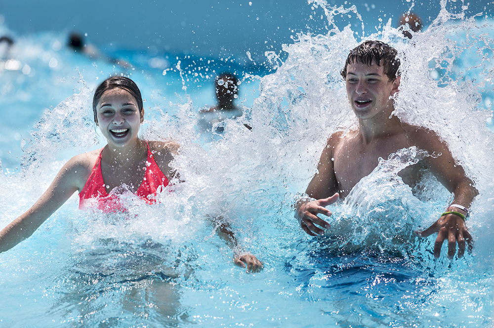 Boy and Girl in Giant Wave Pool at Waldameer