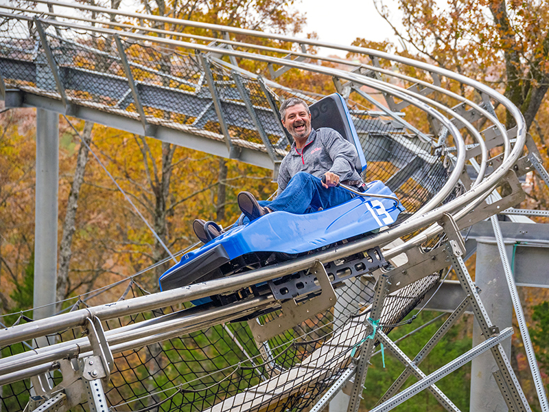 A man on the Branson Coaster
