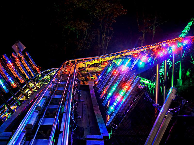 Branson Coaster at night