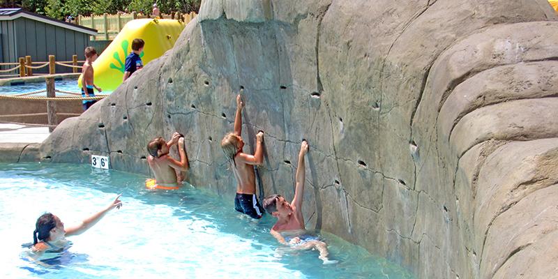 Rock climbing water fall adventure lagoon