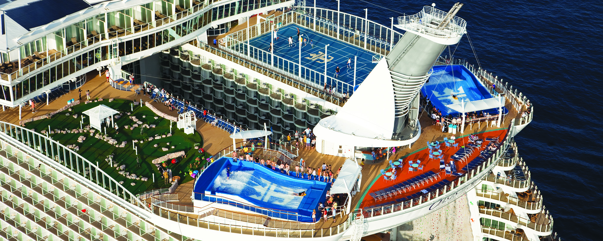The top of the Royal Caribbean cruise with two flowriders on it