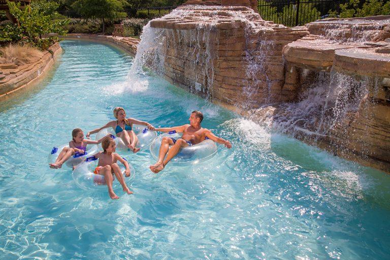 Resort water falls and lazy river at gaylord texas