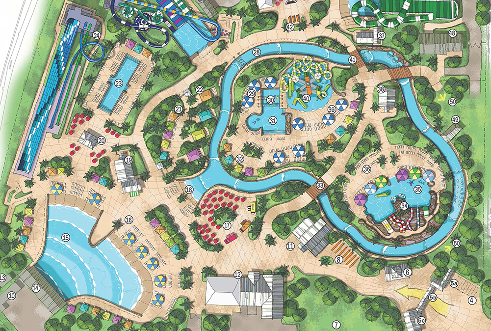Island H20 Live! Water park concept drawing