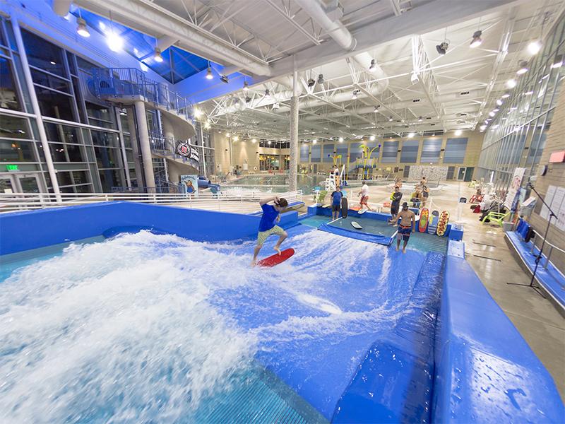 flowrider surf attraction at aquatic center