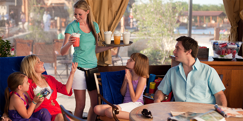 food and beverage service cabanas at resort water