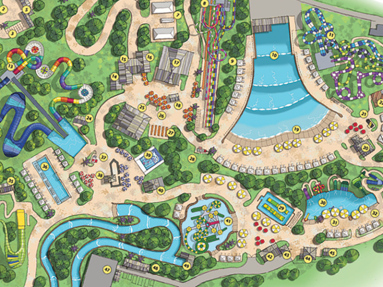 Soaky Mountain Waterpark Color Rendering Aug 6