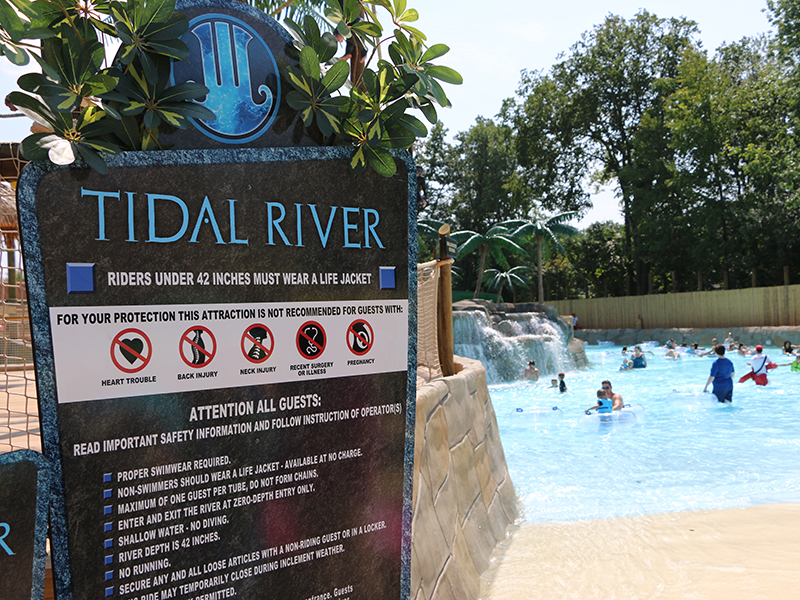 Signage for Tidal River at Canobie Lake Park