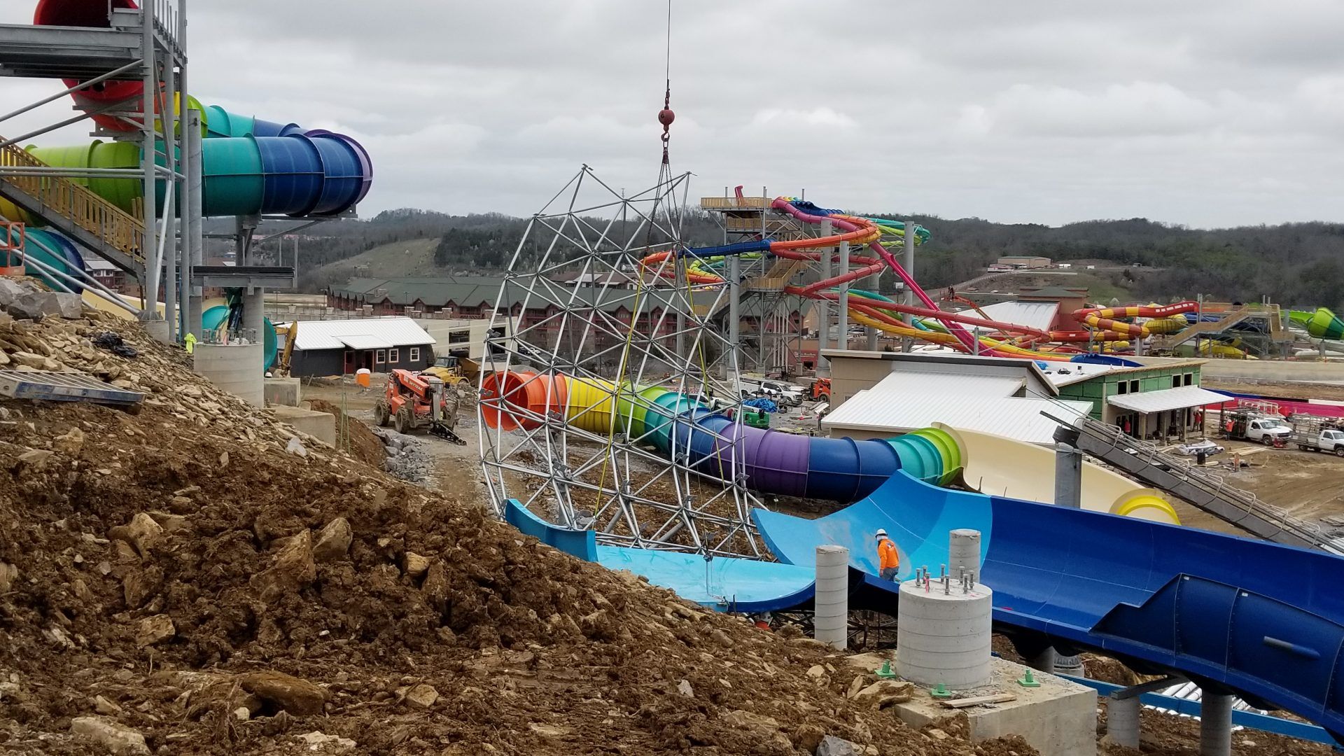 Construction progress at Soaky Mountain Waterpark in Tennessee