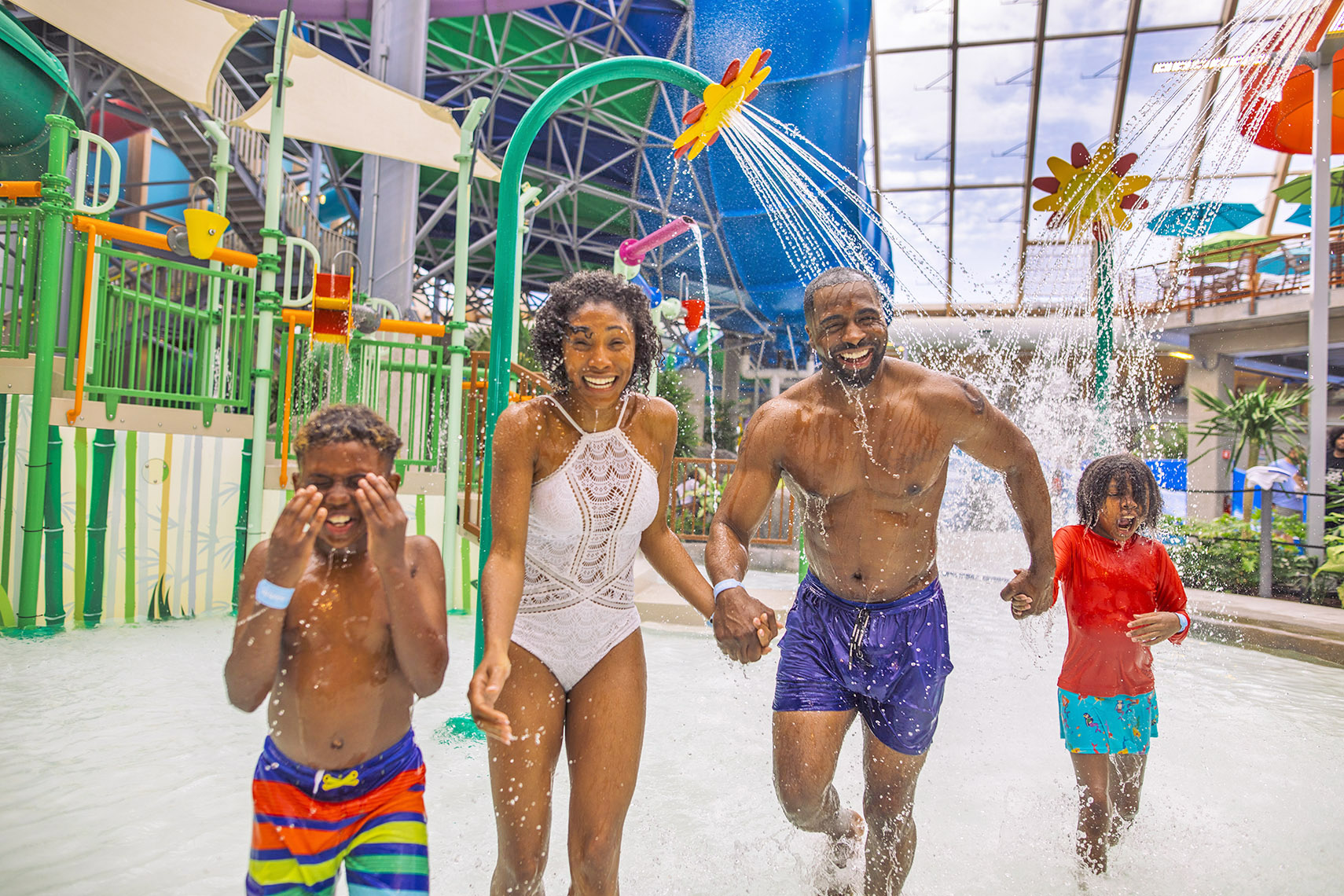 family have a great time in a water attraction