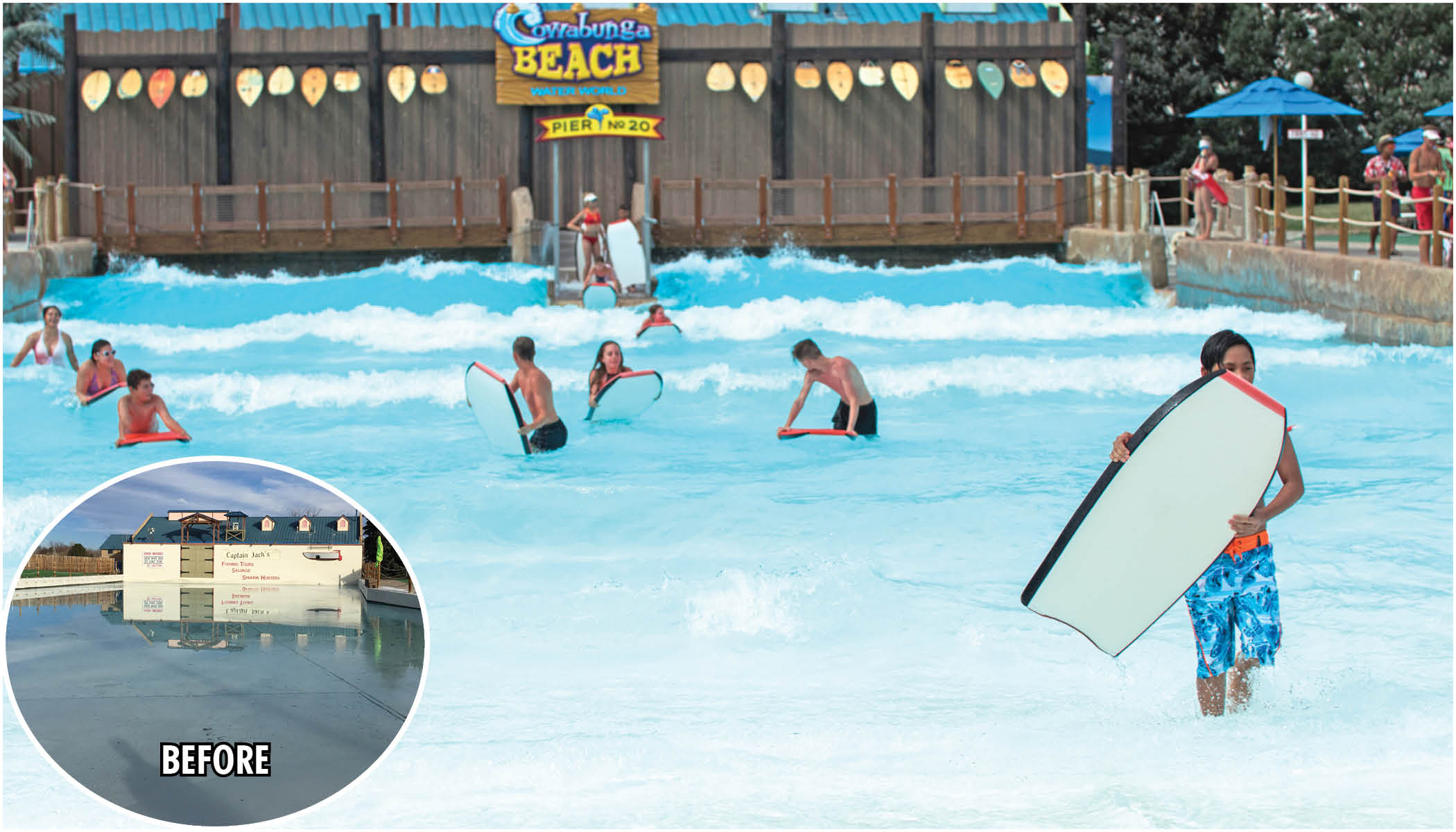 before after photo of wave pool transformed into boogie boarding pool
