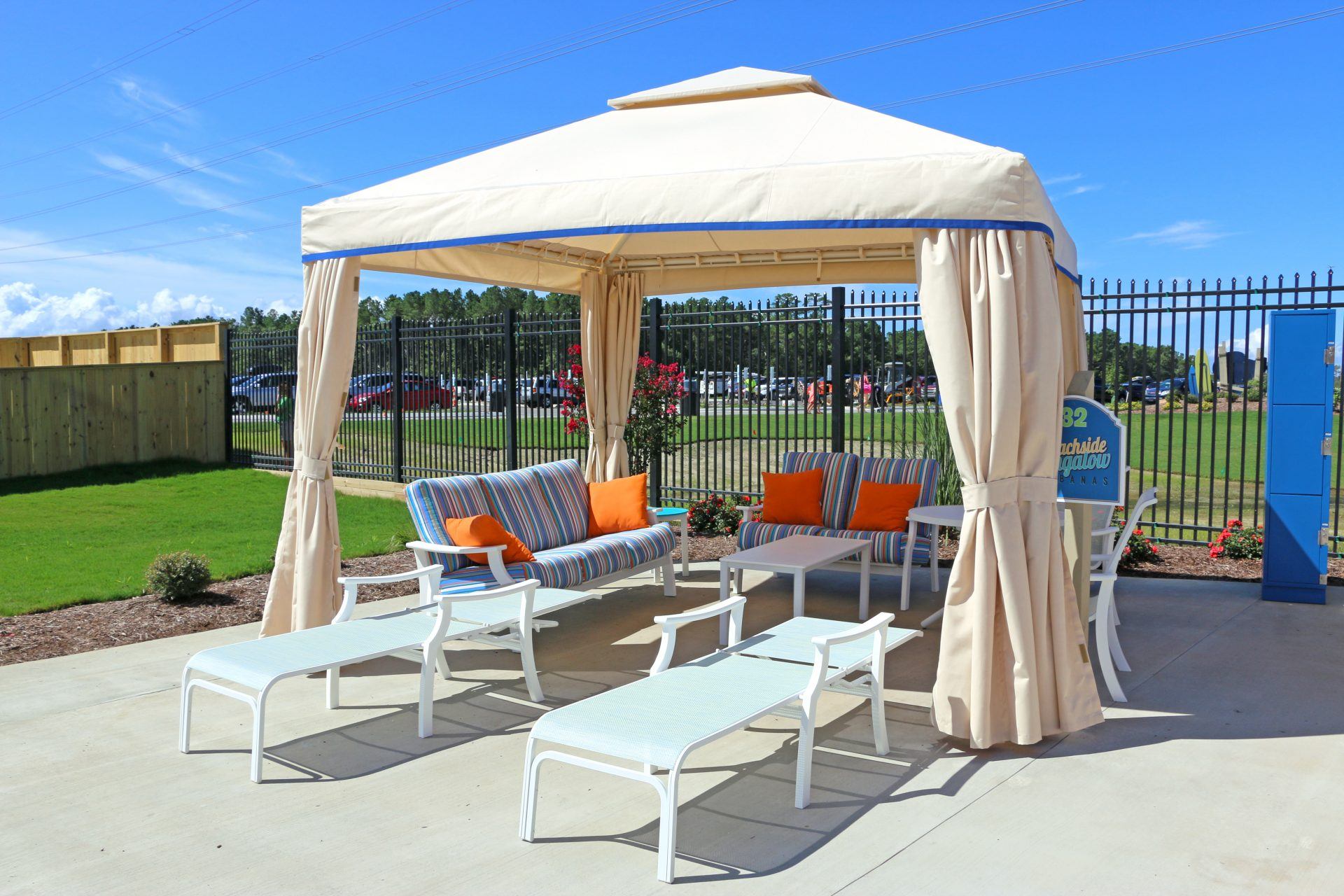 cabana and lounge area at water park