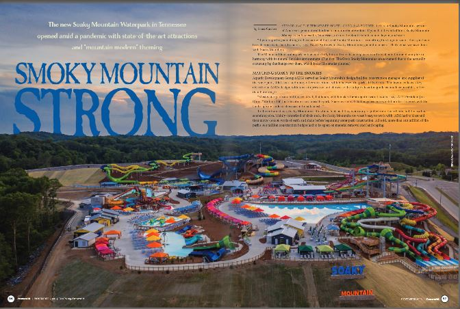 funworld magazine article on soaky mountain waterpark opening